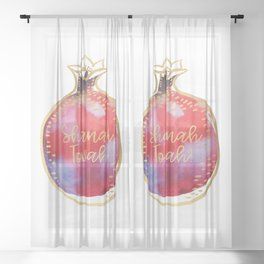 Rosh Hashanah Wishes for Shanah Tovah! with a Pomegranate Sheer Curtain