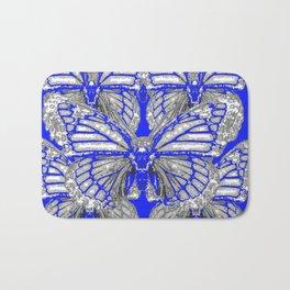 BLUE ART DECO BUTTERFLIES ABSTRACT PATTERNS Bath Mat