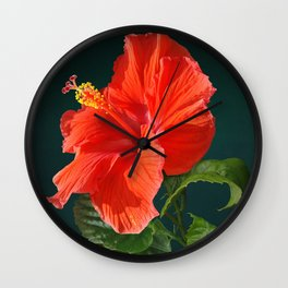Red Darling Hibiscus Wall Clock
