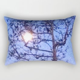 Early Morning Moon and Blue Sky Rectangular Pillow