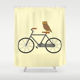 Owl Riding Bike Shower Curtain