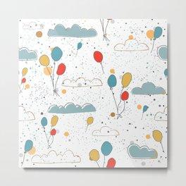 Balloons in Sky Metal Print