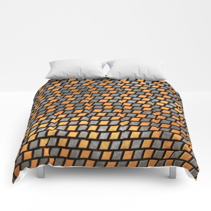 Irregular Chequers - Black Steel and Copper - Industrial Chess Board Pattern Comforters