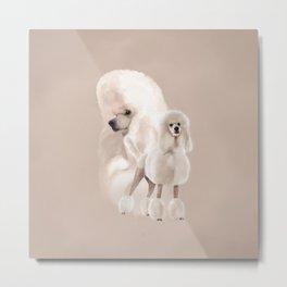 Elegant White Poodle Pastel Collage Metal Print
