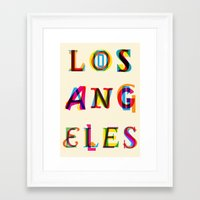 los angeles Framed Art Prints featuring Los Angeles by Fimbis