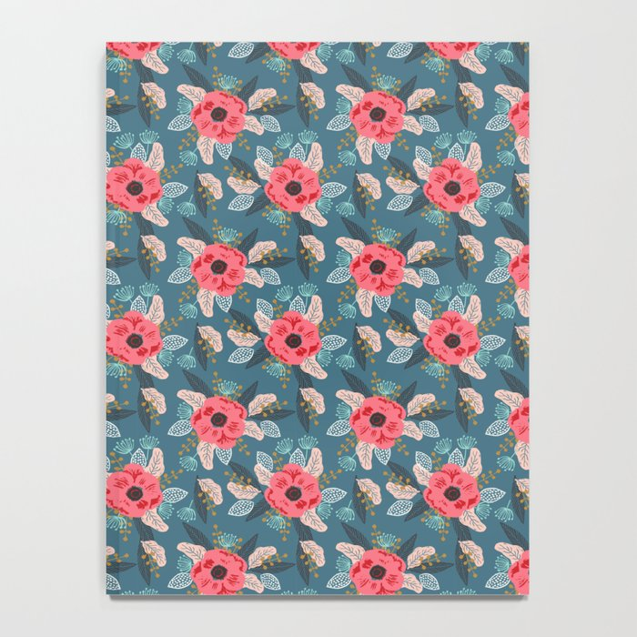 Poppy flowers garden nature mother trendy hipster boho botanical pattern floral print watercolor art Notebook
