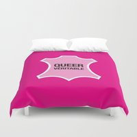 queer Duvet Covers featuring Queer Véritable by justasign