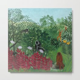 """Henri Rousseau """"Tropical Forest with Monkeys (A Tropical Forest with Apes and Snake)"""" Metal Print"""