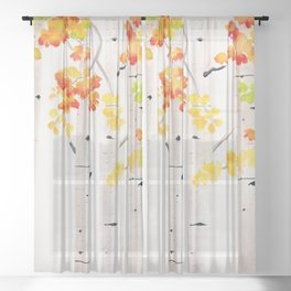 Autumn Birch Song Sheer Curtain