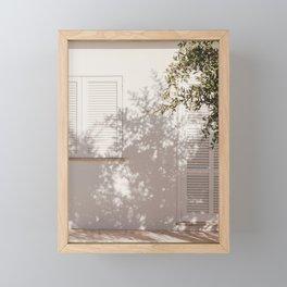 Mediterranean Summer Facade Shadow  Framed Mini Art Print