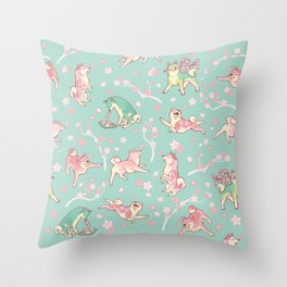 Shibakura & Matchinu in minty Throw Pillow