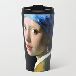 Jan Vermeer Girl With A Pearl Earring Baroque Art Travel Mug