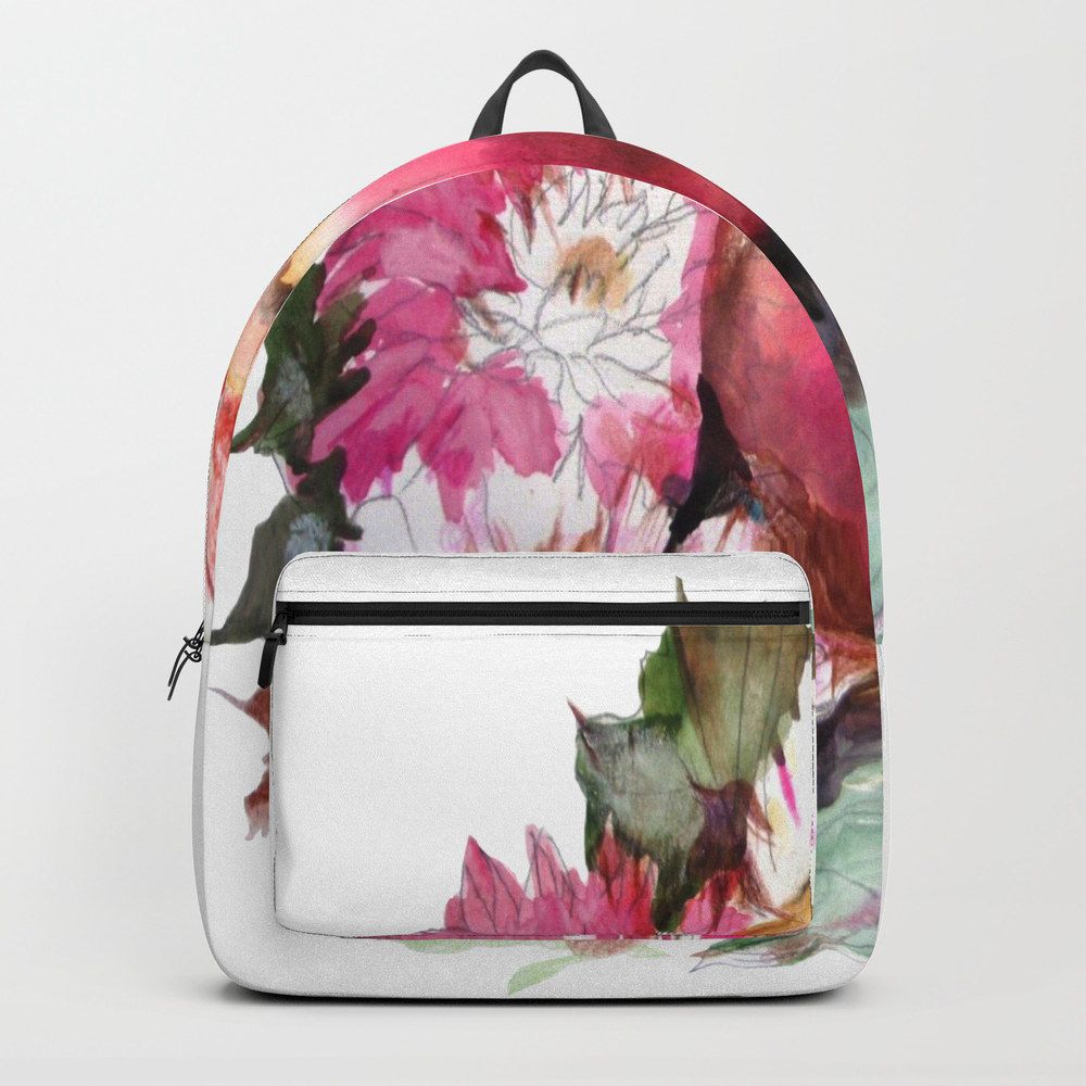 Flowers. Peach. Plum. Bouquet. Fruits. Still-life Backpack by Norroendyrd BKP7801008