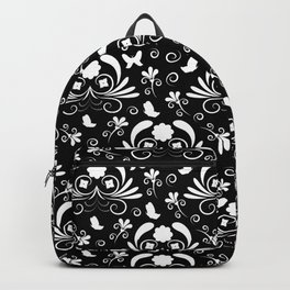 Abstract floral black and white Backpack