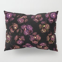 Abstract floral purple and black pattern. Pillow Sham