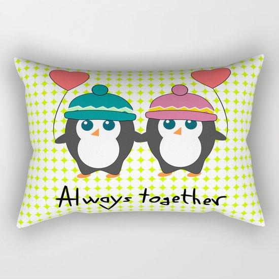 Cute penguins always together Rectangular Pillow