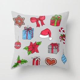 Christmas pattern (#1 grey) Throw Pillow