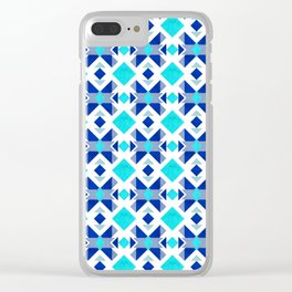 Morrocan blue tiles with marble texture Clear iPhone Case
