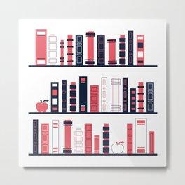 Shelves of Books Stylized Metal Print