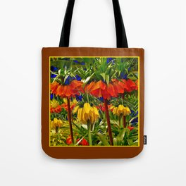 COFFEE BROWN YELLOW & ORANGE CROWN IMPERIALS GARDEN Tote Bag