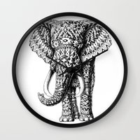 ornate elephant Wall Clocks featuring Navajo Elephant by BIOWORKZ