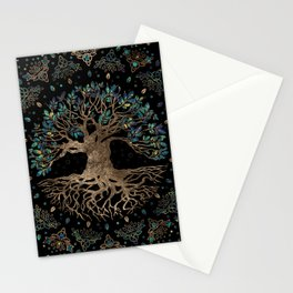 Tree of life -Yggdrasil Golden and Marble ornament Stationery Cards