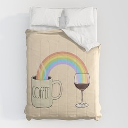 Coffee & Wine at the Ends of the Rainbow Comforters