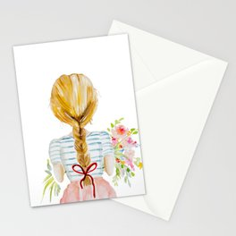 Blonde Girl with Flowers Stationery Cards