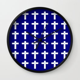 Christian Cross 53– blue with star of david Wall Clock