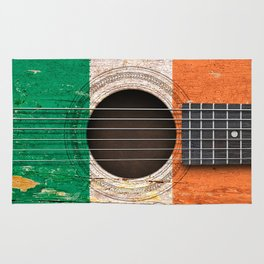 Old Vintage Acoustic Guitar with Irish Flag Rug