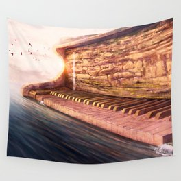 Piano Accord in Sea minor Wall Tapestry