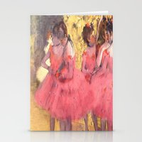 degas Stationery Cards featuring The Pink Dancers Before the Ballet by PureVintageLove