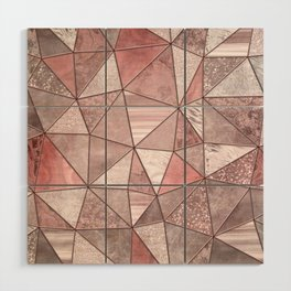 Soft Pink Coral Glamour Gemstone Triangles Wood Wall Art