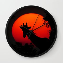 Giraffe in the Sunset - Abstract Art Photography Wall Clock