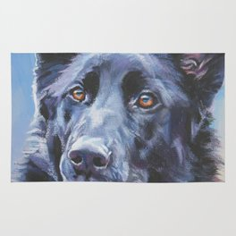 black German Shepherd dog portrait art from an original painting by L.A.Shepard Rug