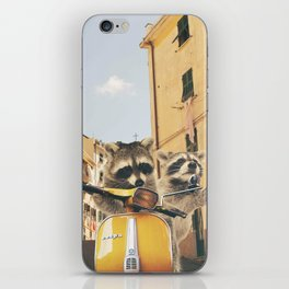 Raccoons on the road trip iPhone Skin
