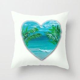 Beach heart Throw Pillow