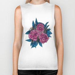 Magenta & Blue Roses Biker Tank