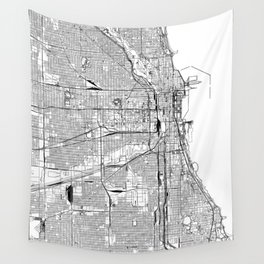 Chicago White Map Wall Tapestry