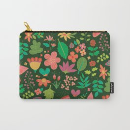 Garden Scatter - Warm Spring Colours on Dark Forest Green (floral pattern) Carry-All Pouch