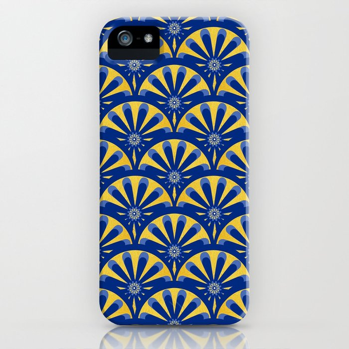 Art Deco Fan in blue and gold iPhone Case