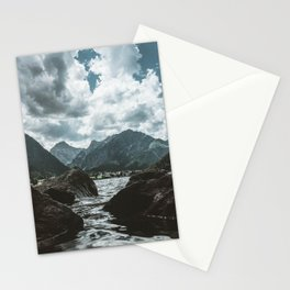 Mountains under cloudy sky Stationery Cards