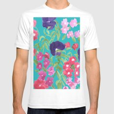 Blue Floral Print MEDIUM White Mens Fitted Tee