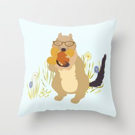 Nut Crazy...- Modern, Quirky, Cute, Woodland Creature, Squirrel Illustration Print Throw Pillow