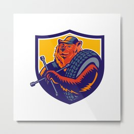 Bear Tireman Crest Metal Print
