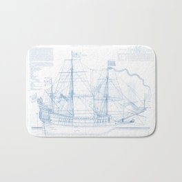 1636 French ship Couronne - Blueprint Style Bath Mat