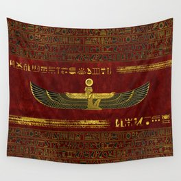 Golden Egyptian God Ornament on red leather Wall Tapestry