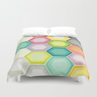 honeycomb Duvet Covers featuring Honeycomb Layers by Cassia Beck