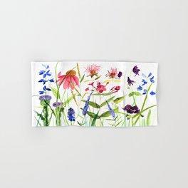 Botanical Colorful Flower Wildflower Watercolor Illustration Hand & Bath Towel
