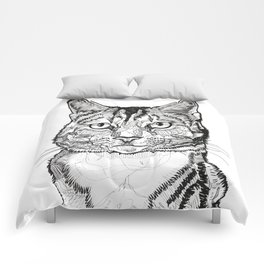 Cat line drawing portrait black and white illustration Comforters